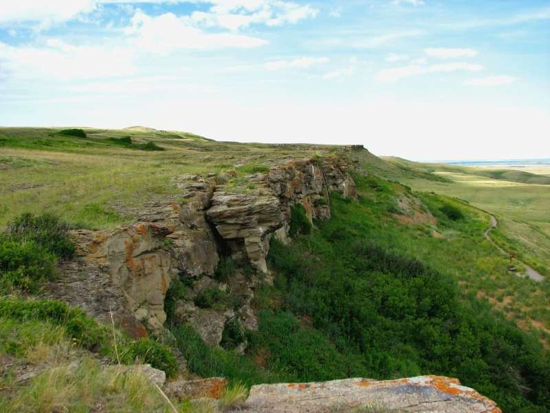 Aerial view of Head-Smashed-In Buffalo Jump in Alberta