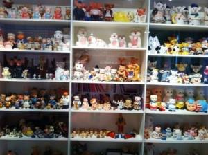 Shelves of pig figurines