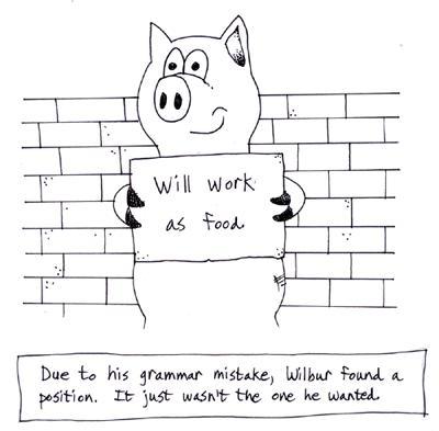 foreign language school pig cartoon