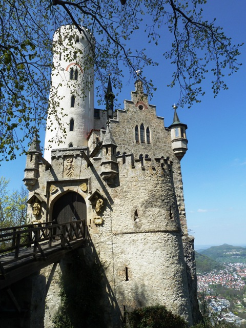 You cross a drawbridge to enter the castle which overlooks Honau, a nearby village in the Swabian Alps