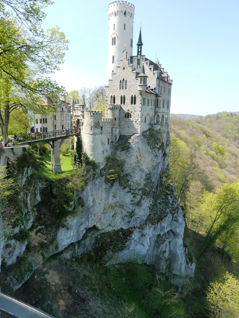 Lichtenstein Castle in Baden-Württemberg is cute hunting castle perched on a cliff.
