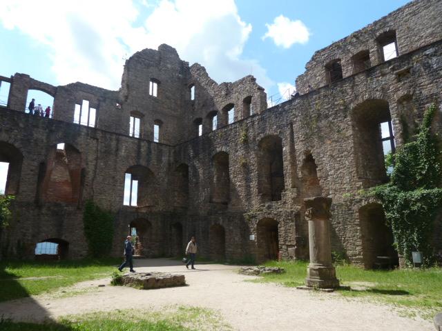Courtyard of the Baden-baden castle ruins in Baden-Württemberg, Germany