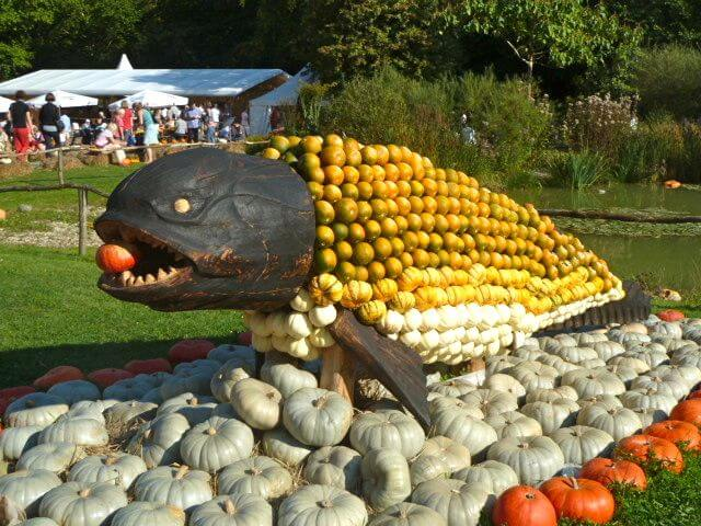 Some of the 450,000 pumpkins that can be seen at the world's largest pumpkin festival in Ludwigsburg, Germany