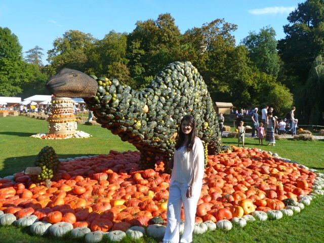 Baby and mama dino at the pumpkin festival Ludwigsburg in Baden-Württemberg, Germany
