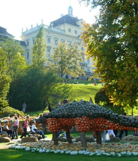 Pumpkin festival palace and pumpkins in Baden-Württemberg, Germany