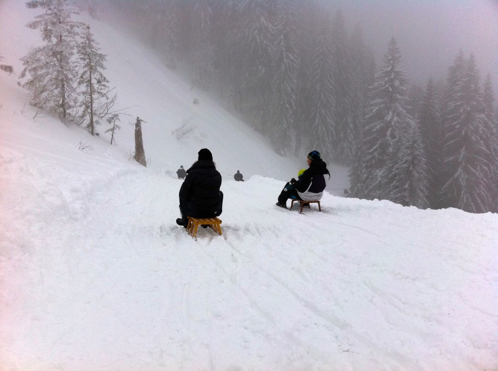 Sledding down a groomed run near the Tegernsee, about an hour from Munich