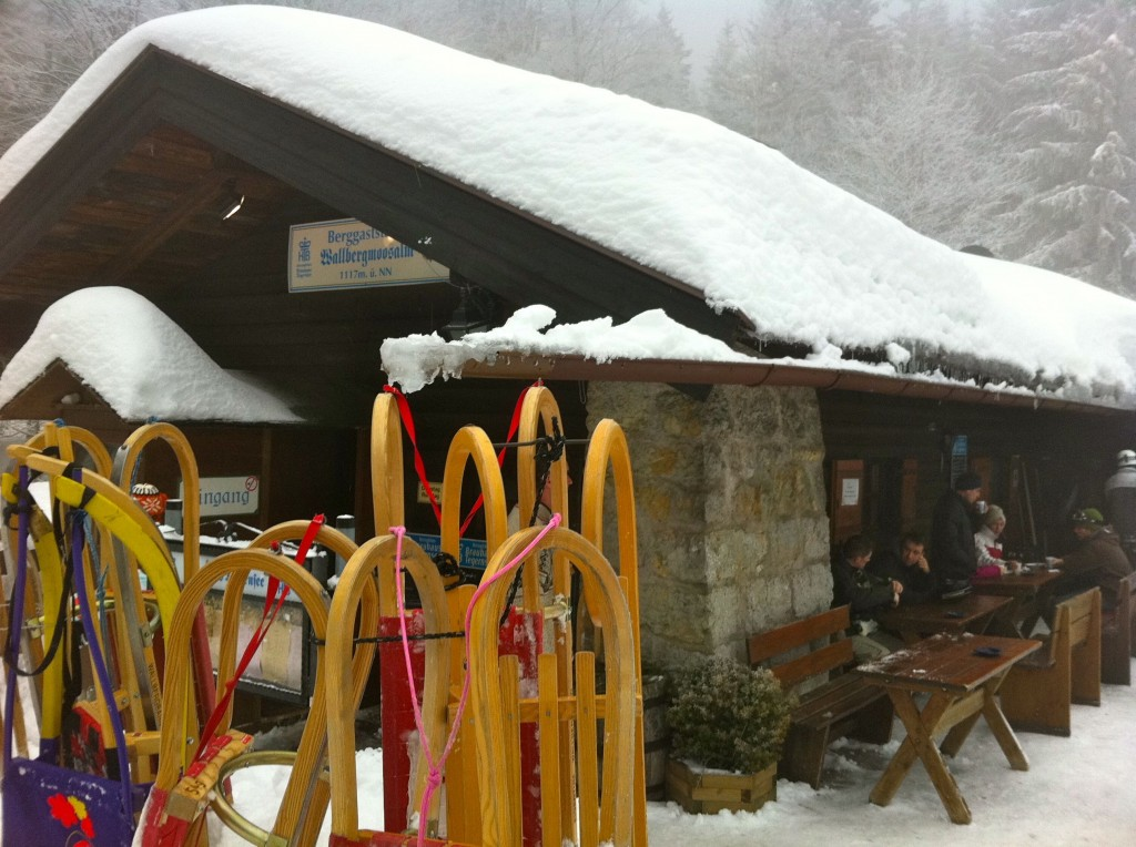 Stopping at a hut for schnapps to warm up.
