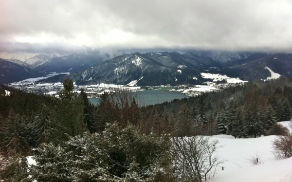 winter hiking german alps view