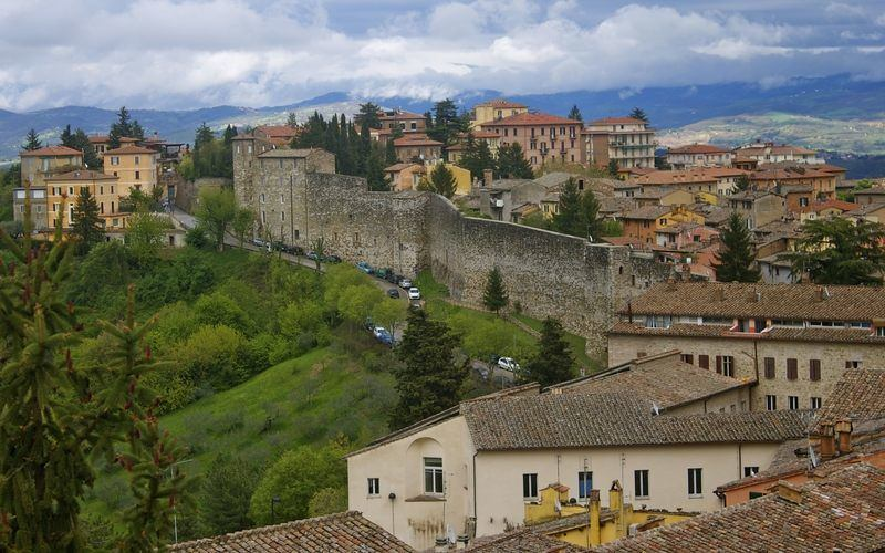City wall in Perugia, Umbria, Italy