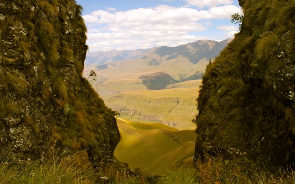 View over the Drakensberg mountains from Orange Peel Gap, South Africa
