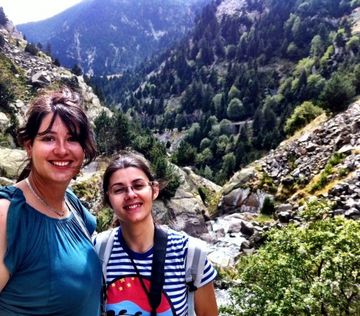 Laurel and Isabelle hiking the Vall de Nuria in the Pyrenees, Catalonia, Spain