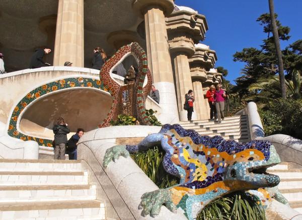 Park Güell, a famous Gaudi park in Barcelona, Spain