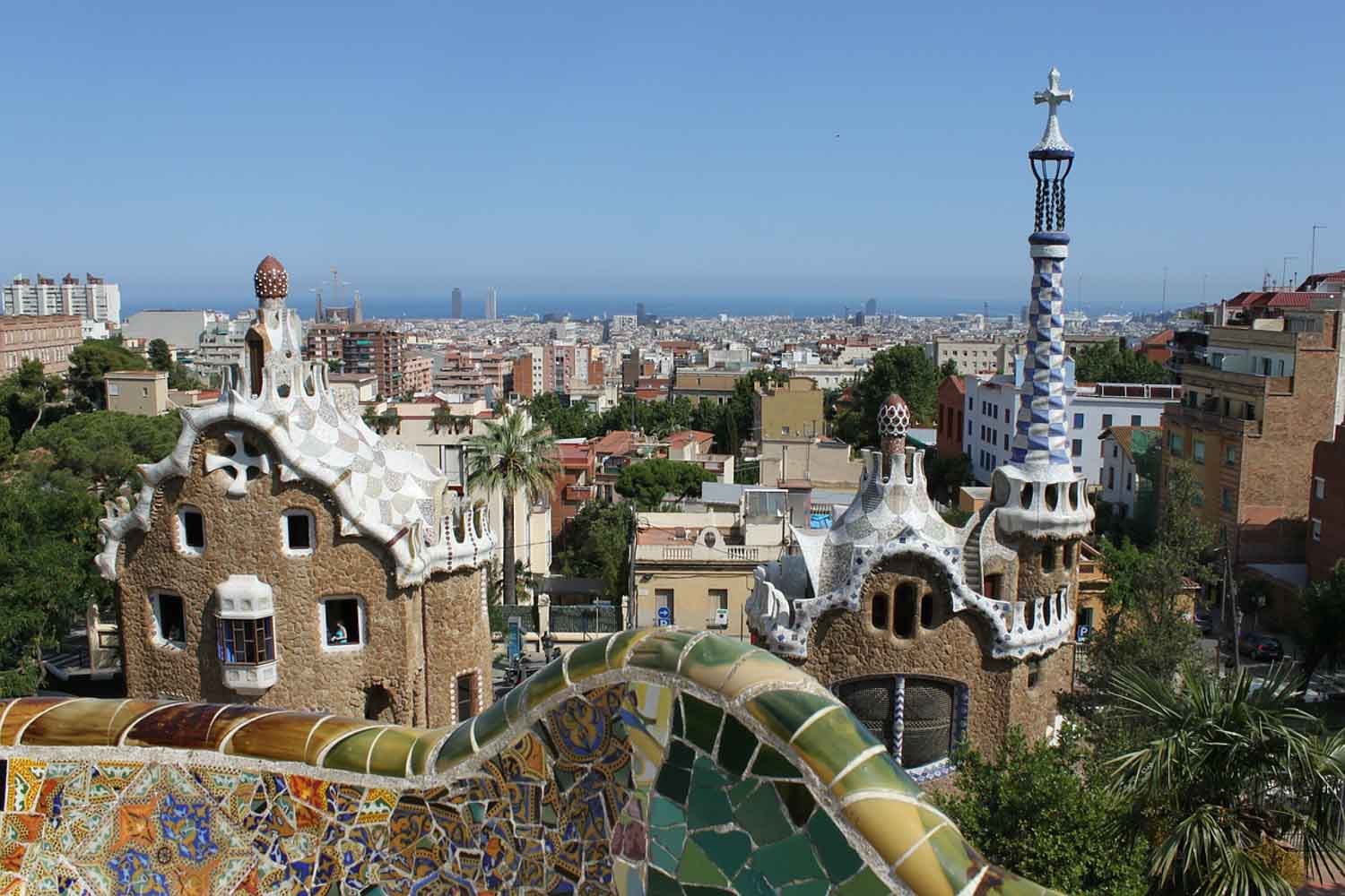 Barcelona as seen from Park Güell, designed by Gaudi