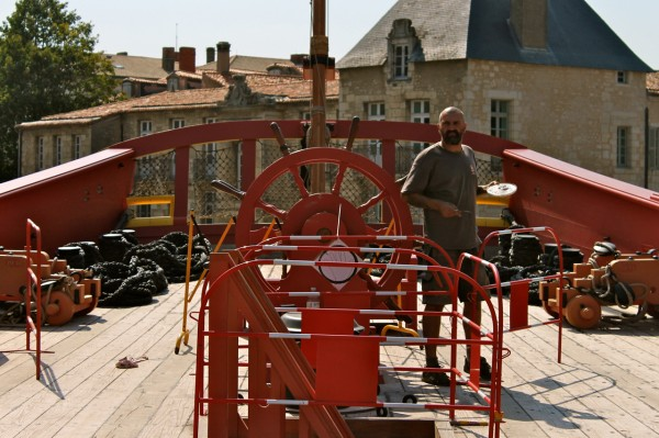 Ludwig working on the L'Hermione French frigate in Rochefort, France