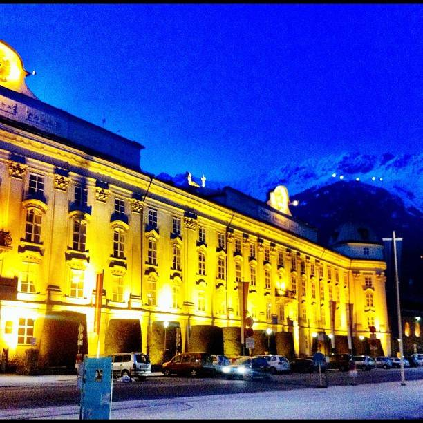 The castle in Innsbruck, Austria is especially romantic when light up at night.