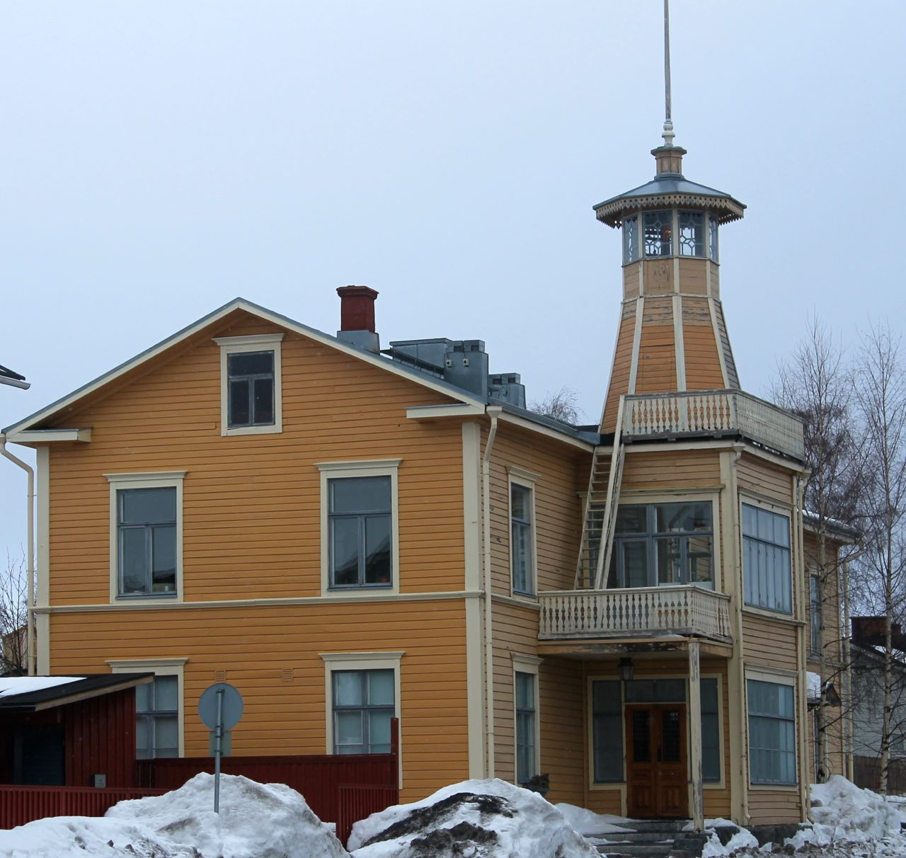 Yellow wood building in Oulu, Finland