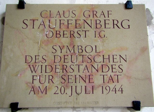 Plague honoring Stauffenberg who lived in Bamberg, Germany.