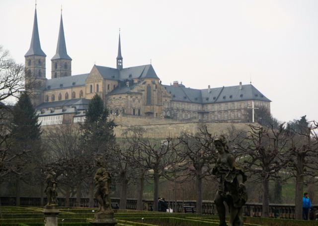 The rose garden is a great place for views of the huge monastery that overlooks Bamberg, Germany.