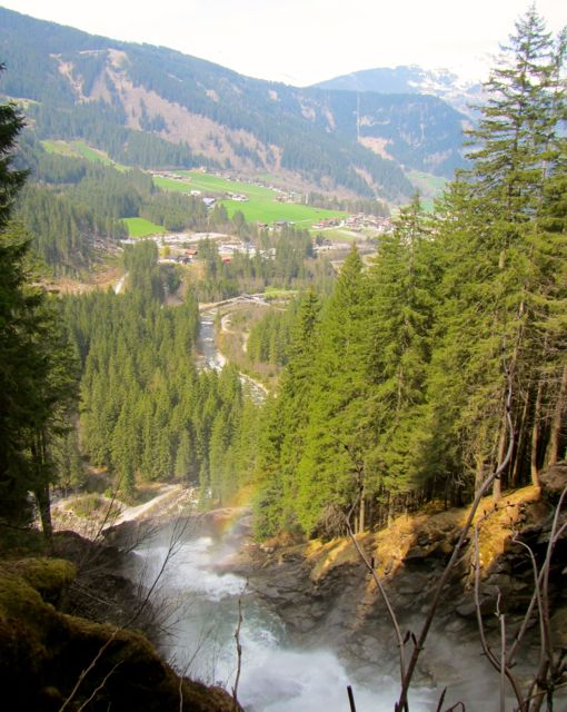 View over Hohe Tauern National Park from Krimml Waterfall
