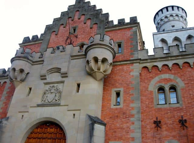 Interesting architectural details on the top part of Neuschwanstein Castle in Germany