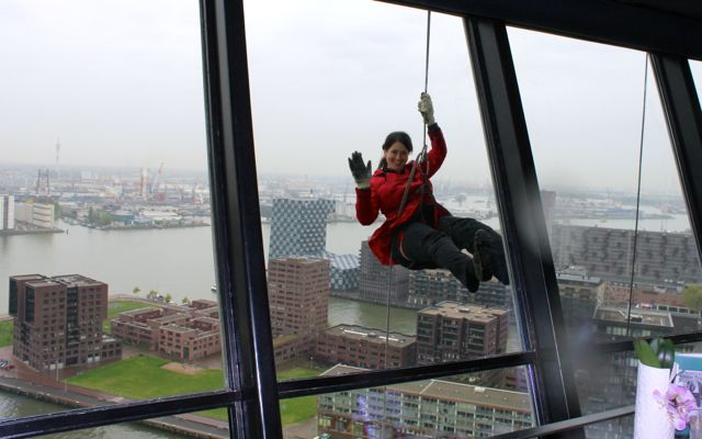 Abseiling from the Euromast in Rotterdam.  View from the restaurant.