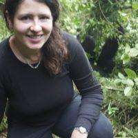 mountain gorilla silverback and adventure traveller Laurel Robbins