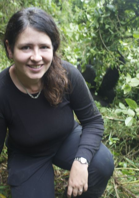 mountain gorilla silverback and adventure traveller Laurel Robbins