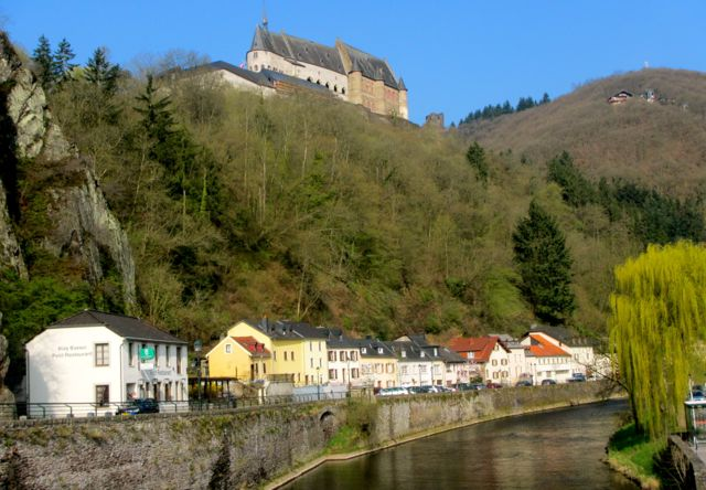 View of Vianden Castle from the medieval village of Vianden in the Luxembourg Ardennes