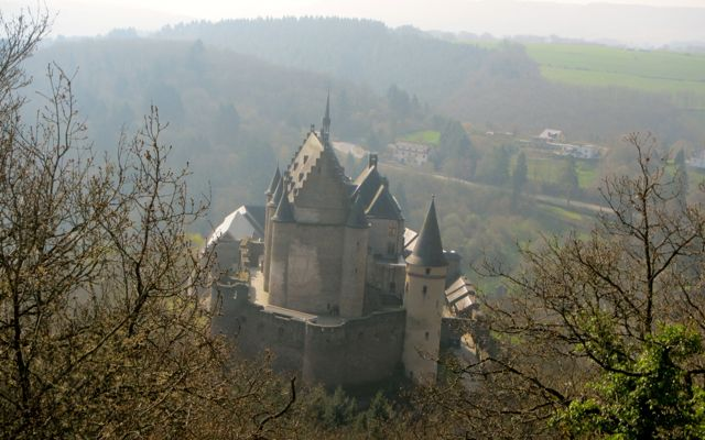 looking down at Vianden Castle from a hiking trail