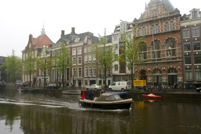 Boat on a canal in Amsterdam.