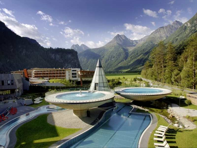 levitating pools are a highlight of the Aqua Dome Wellness and Thermal Hotel in Tyrol Austria