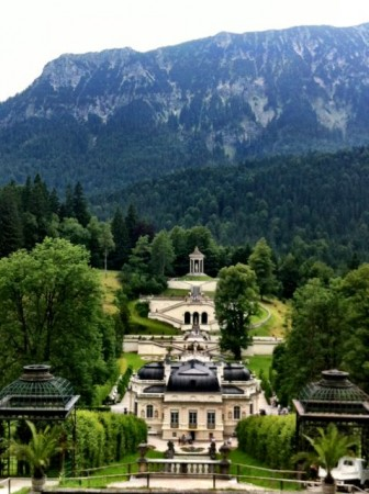 View overlooking Linderhof Palace and grounds in Bavaria, Germany