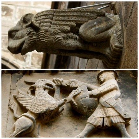 Gargoyles and other art line the cathedral's walls