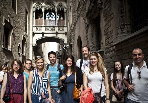 Bridge in Barcelona's Gothic Quarter