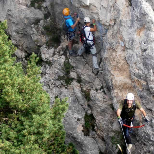 This via ferrata involves balancing on a steel cable.