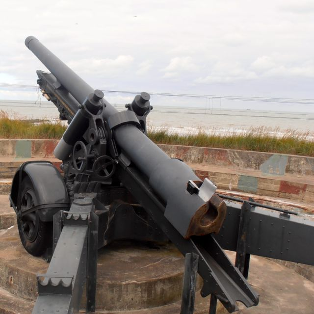 Cannon lined up in a strategic position to defend against the Allies coming from the North Sea