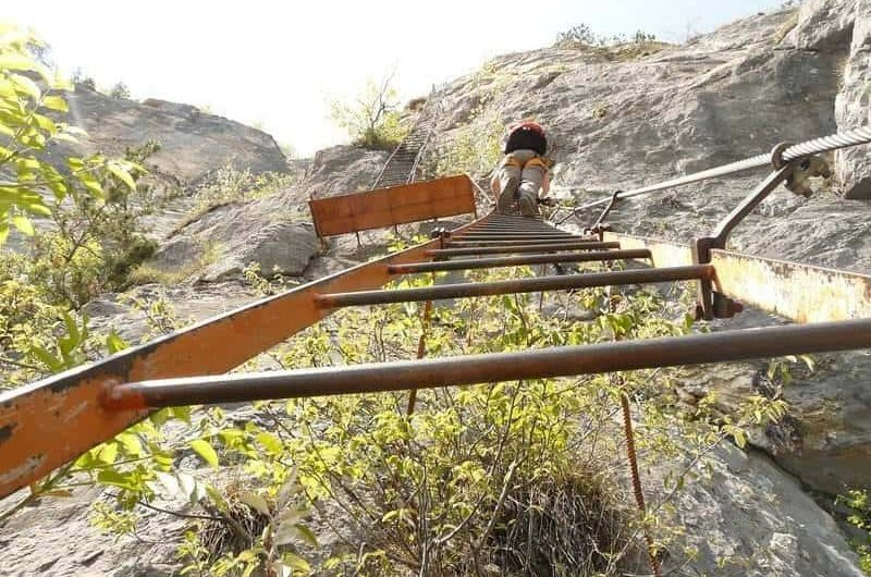 Example of a via ferrata with a ladder.