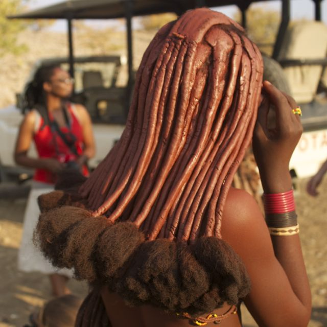 Famous Himba hair that is covered in ochre