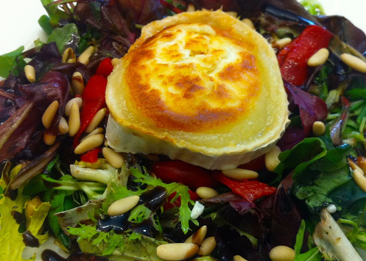 Goat cheese salad at Restaurant Can Roca, not to be confused with El Cellar de Can Roca in Girona, Spain