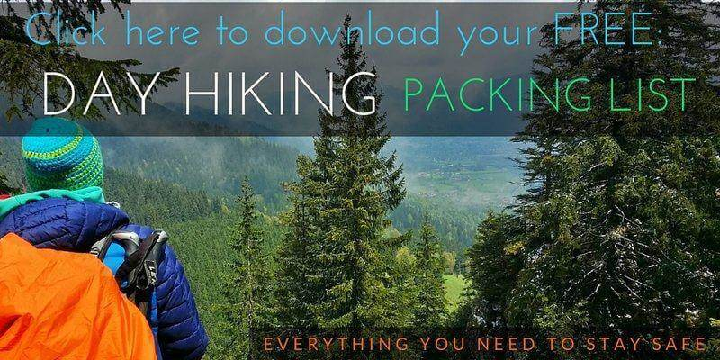 day hiking packing list for a day in the mountains