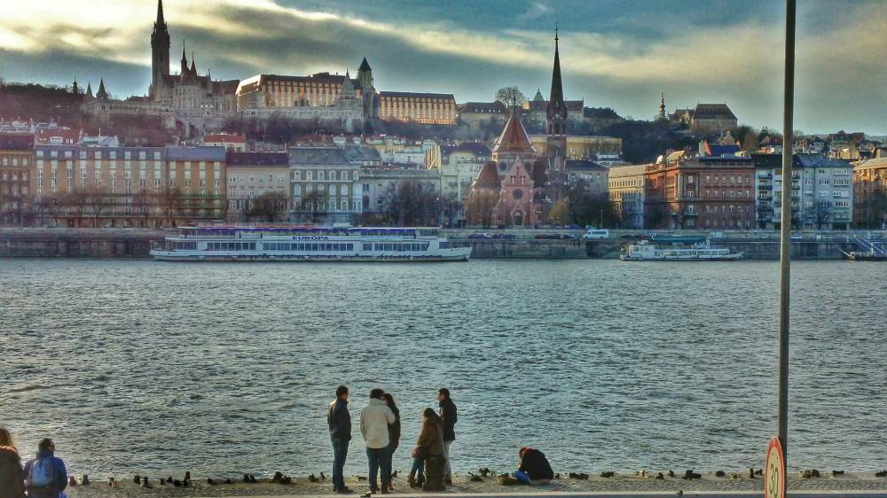 Buda Castle and the Shoes on the Danube Promenade, memorial to the Jews who died in WWII.