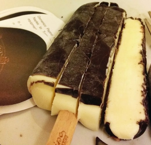 pinquino, the world's first chocolate covered gelato on a stick.