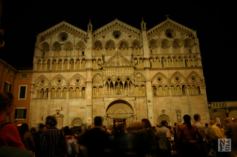 Cathedral at night in Ferrara, Italy