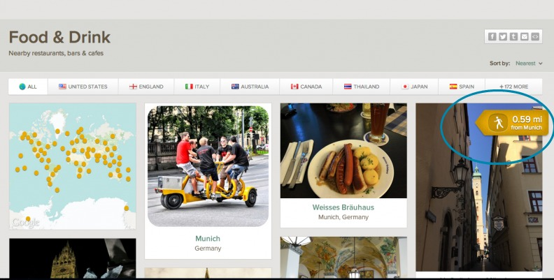 You can use Trover, a travel app to find places close to you to eat.