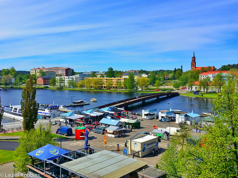 The view from my room at Original Sokos Hotel Seurahuone Savonlinna, overlooking the harbour of Lake Saimaa