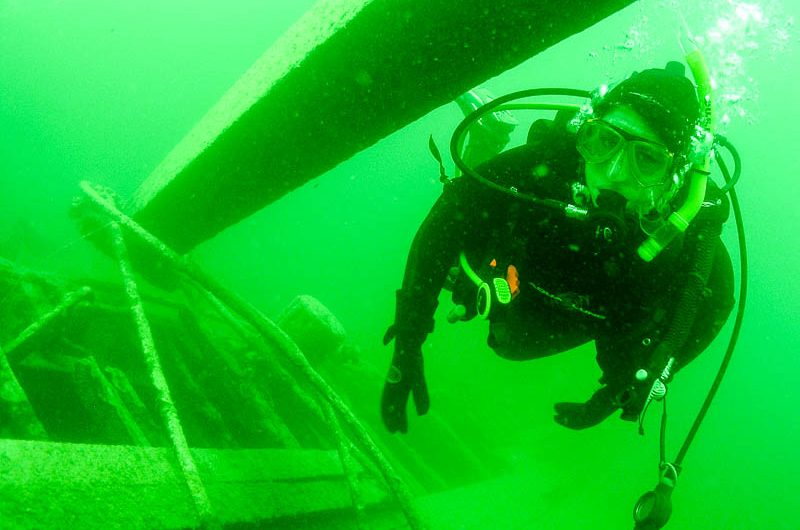 wreck diving in Okanagan Lake, near Kelowna