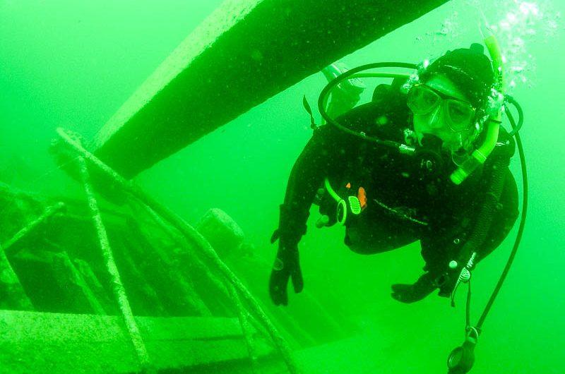 wreck diving in Okanagan Lake, near Kelowna