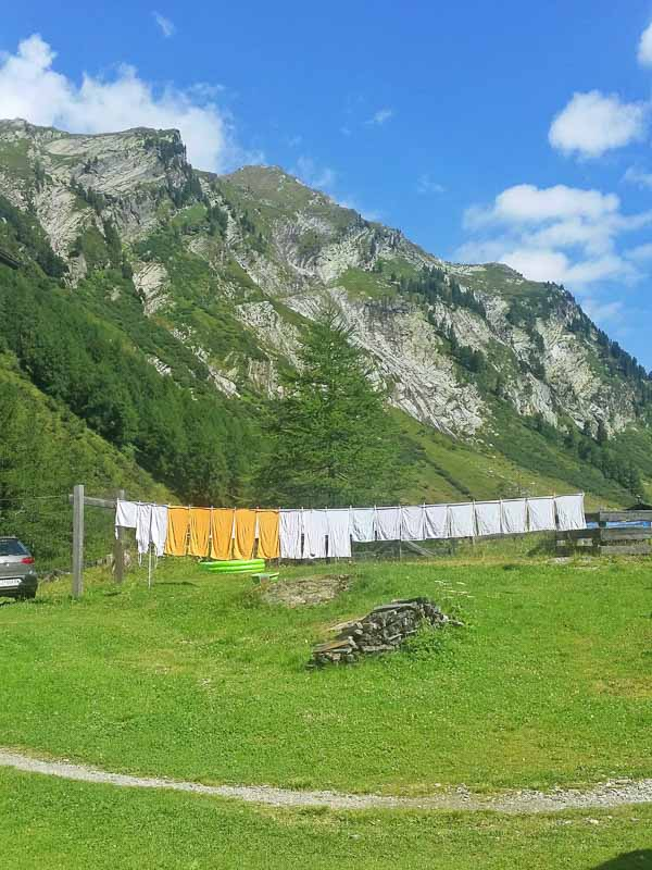 doing laundry is an adventure in Hohe Tauern National Park in the Austrian Alps
