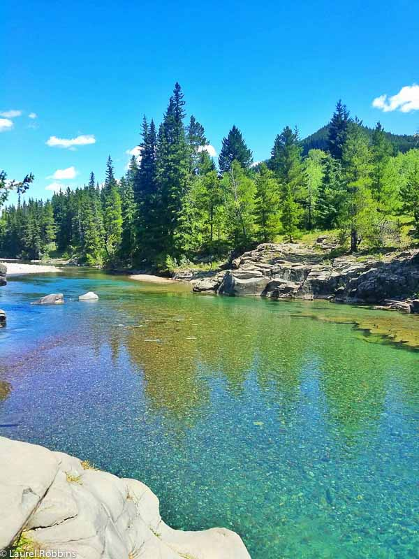crystal clear water stream in Castle Wilderness, an area is southwestern Alberta