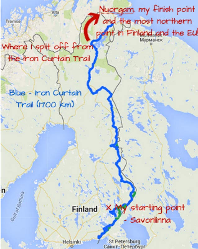 map of cycling EV 13 Iron Curtain Trail Finland-55